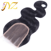 4 bleached knots - Cheap x4 Brazilian Virgin Body Wave Human Hair Top Lace Closures Pieces With Bleached Knots Free Middle three Part Stock