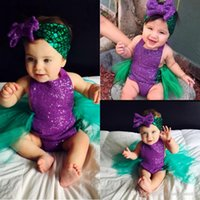baby photos - Sequin Baby Girls Little Mermaid Bodysuit Romper Jumpsuit Photo Prop Outfits Set
