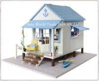 Wholesale Learning amp Education Wooden Toys DIY Dollhouse Miniature quot Happiness Coast House quot Kids D Assembling Doll House Casas de Madeira