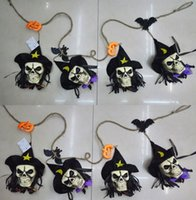 atmosphere decor - Halloween Party Skull Garland ghost bat witch pumpkin string banner flag club bar decoration store atmosphere SKULL HEAD pendant flags decor