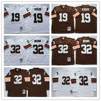tb - Throwback Browns Bernie Kosar Jim Brown Coffee White Vintage TB M N Football Jerseys for Sale