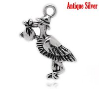 baby storks - Retail Antique Silver Stork Carrying Baby Charm Pendants x23mm quot x7 quot sold per pack of