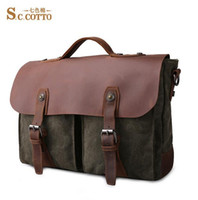 Wholesale Factory direct retro Crazy Horse Leather multifunction Canvas Messenger Bag retro casual brand new European mens canvas bag