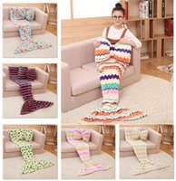 Wholesale Kids Mermaid Blankets Coral Fleece Sleeping Bag Soft Mermaid Tail Blankets Nap Sofa Blankets Bedding Living Room Bedroom Blankets B1037