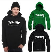 america skate - Men s Thrasher Hoodies Skate sportswear Hip hop brand in Europe and America winter thickening hoody Turtleneck Sweetshirts coat