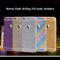Wholesale for iphone S S SE S Plus S Plus Glitter full body stickers Front Back bling sticky skins Cell Phone Skins Stickers