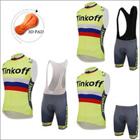 bank vest - 2016 Tour De France Tinkoff Saxo Bank Cycling Vest Sleeves Cycling Tops bib None Bib Pants Fluo Light XS XL Size Cycle Sleeveless Jerseys