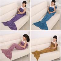Wholesale Cute Mermaid Tail Blankets Kids Acrylic Knitted Blanket Girls Mermaid Sofa Mat Crochet Garon Blanket Gift For Kids