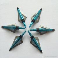 Wholesale 6 Blue Archery Bow Arrow Points Heads Three Fixed Blades grain Bow and Crossbow Arrow Broadheads