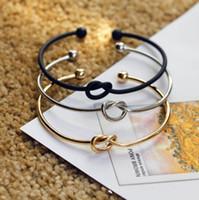 Wholesale Hot Fashion Alloy Open Bangle Womens Mens Knot Cuff Simple Design Balls Cuff Bangle Bracelet Jewelry
