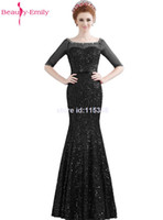Wholesale Bowknot Sequin Mermaid Half Sleeve Boat Neck Off The Shoulder Mother of the Bride Dress Long Bead Night Party Evening Dresses