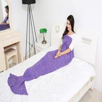 Wholesale Mermaid tail blanket super soft gloves crochet hook cartoon sofa blanket air conditioning blanket leisure blanket X90cm Lff188