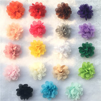 Wholesale New fashion Chiffon Fabric Flower Rosettes for baby girls Headband Clothes Corsage Dress Hair Accessories