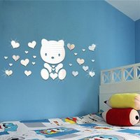 bear bathroom decor - 1PC Love Bear Wall Sticker D Reflective Acrylic Mirror Kids Children Room Kindergarten Catoon LivingRoom Mural DIY Art Home Decor