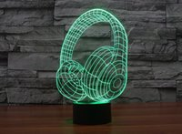 Cheap Novelty 7 Color Changing 3D LED Night Light Headset Acrylic Colorful Gradient Atmosphere Lamp USB Bedroom Table Lamp