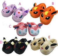 Wholesale 5 style inch Poke Figures cotton Warm slippers shoes cm children cartoon Pikachu Squirtle Charmander Poke Ball Sylveon slippers shoes