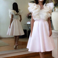 apple bottoms dress - Fashion Arabic Style Graduation Dresses A line V neck Top White Bottom Pink Short Prom Homecoming Dresses New Plus Size Party Gowns