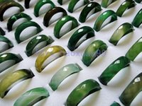 Wholesale ps natural green faceted jade Emerald agate gemstone rings FREE