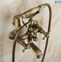 Wholesale All copper antique European retro simple shower bathtub faucet shower set
