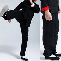 Wholesale Classical bruce lee martial arts pants kung fu wushu trousers mens black tai chi sport pant trousers for height cm