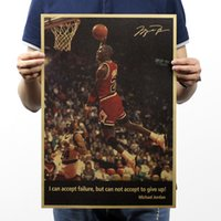 Wholesale Michael Jordan Not Give Up Vintage Kraft Paper Movie Poster Home Decor Wall Decals Art Craft Retro Painting