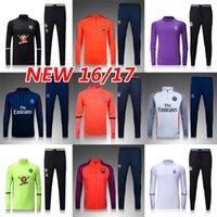 Wholesale Top thailand quality shirt shirts kit camisetas de futbol maillot de foot men set homme survetement tracksuits