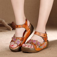 beauty leather straps - High Quality Genuine Leather Women s Sandals Beauty Floral Bohemia style Summer Beach Sandals Leisure Women Hook Loop Shoes