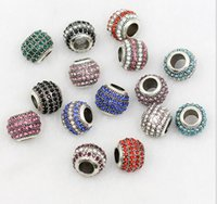 Wholesale 4 Rows Rhinestone Beads Round DIY Spacer European Murano Czech Bead Charm Fit For Pandora Charms Bracelet necklace DIY HANDMADE jewelry gift