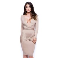 Wholesale Womens Khaki Sexy Deep V neck Full Sleeve Bodycon Dresses For Women Blue Draped Slim Sheath Bandage Plunging Sexy Club Night Out Dress