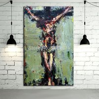 Wholesale Artist Hand painted High Quality Modern Abstract Jesus Oil Painting On Canvas Abstract Jesus Canvas Painting