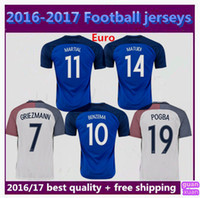 Wholesale best quality Home Away France Soccer Jerseys Euro Cup GRIEZMANN PAYET BENZEMA POGBA Football shirts