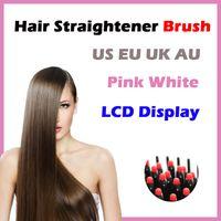 air hot brush - Hair Straightener Free Sample Hot Air Brush LCD Display Electric Pink White Comb Flat Iron Ceramic Hair Straightener