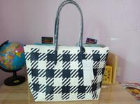 american shopping - new style women PVC pattern classic plaid dumplings dark blue handbag shoulder shopping bag