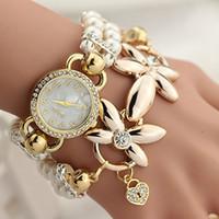 bangle watch for women - Pearl Bracelet Geneva Watches for Women Long Chain Bangle Wristwatches with Flower Pendant Female Girls Crystal Diamond Luxury Wrist Watch