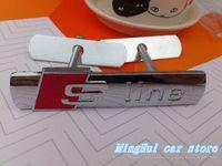 Wholesale S Line Logo Badge - 10set lot S LINE Metal 3D Car Front Hood Grill Badge Grille Emblem Logo stickers for A1 A3 A4 A5 A6 A7 A8