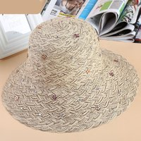 Cheap Vogue Women church Straw Hats hand made Soft Fedora Panama Hats Outdoor Stingy Fashion Outdoor Fisherman Hat