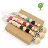 baby cords - 3 geometric wooden crochet beads mm pacifier clip dummy holder natural color silk cord baby gift NT162