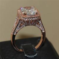Revisiones Piedras preciosas conjunto de plata de ley-La plata esterlina de lujo 925 y el oro color de rosa llenados pavimentan el ajuste 192PCS AAA CZ que fija la piedra preciosa cuadrada 8ct suena el dedo del anillo de boda de la torre del hierro