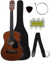 Wholesale New COFFEE Beginners Acoustic Guitar With Guitar Case Strap Tuner and Pick