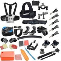 Wholesale Gopro Accessories Set Helmet Harness Chest Belt Head Mount Strap Monopod Go pro hero3 Hero session xiaomi yi SJ4000 GS34