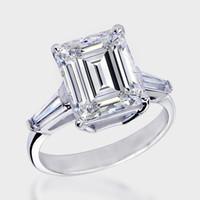 baguette cut diamond rings - 3 ct Emerald Baguette Cut Diamond Trilogy Ring K White Gold Diamond Ring