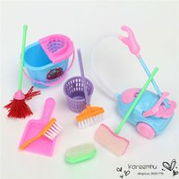 Wholesale 2016 Time limited Rushed Baby Born Girl House Dolls Furniture Cleaning Kit Set Home Furnishing Funny Vacuum Cleaner Mop Broom Tools set