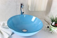 art glass vessel sink - Sky blue glass art basin Tempered Glass Vessel Sink With Faucet Set N