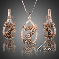 Wholesale AZORA Rose Gold Plated Austrian Crystals Water Drop Twining With Leopard Riband Earrings and Necklace Jewelry Sets TG0194