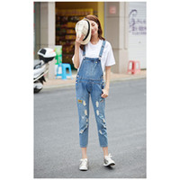 Wholesale Fashion Women Overalls Jeans Mid Waist Zipper Fly Style Jeans with Denim Material for Women Overalls Type