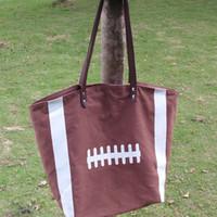 basketball handles - Blanks Sports Bag Football Tote Bags with PU faux leather Handles Soccer Baseball Softball Basketball DOM13292