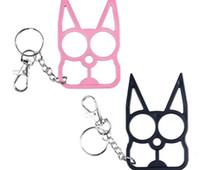 Wholesale 50pcs Self Defense Keychains Kitty Cat Keyrings New Designer Car Key Pendants U Shape Metal Chains