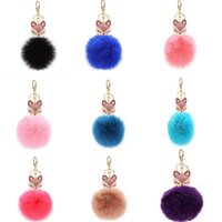 Wholesale Cute Rabbit Fur Ball Keychain Bag Pendant Wedding Supplies Gifts Key Rings Rhinestone Pearl Fox Head Car Ornaments