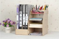 Wholesale office storage rack natural wood color file tray cubbyhole file pigeonhole file shelve made from MDF wood different colors available