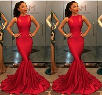 Wholesale 2017 Evening Gowns Sexy Jewel Sleeveless Sheath Mermaid Formal Red Carpet Prom Dresses Custom Made Rose Red Party Dress